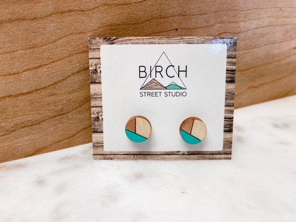 Teal and Rose Gold Studs