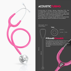MDF® Acoustica® Lightweight Dual Head Stethoscope (MDF747XP) - フクシア (シンクピンク)