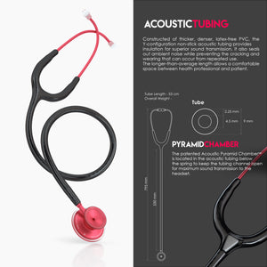 MDF® Acoustica® Lightweight Dual Head Stethoscope (MDF747XP) - レッドブラック