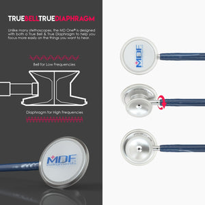 MDF® MD One® Stainless Steel Dual Head Stethoscope (MDF777) - ネイビーブルー (アビス)