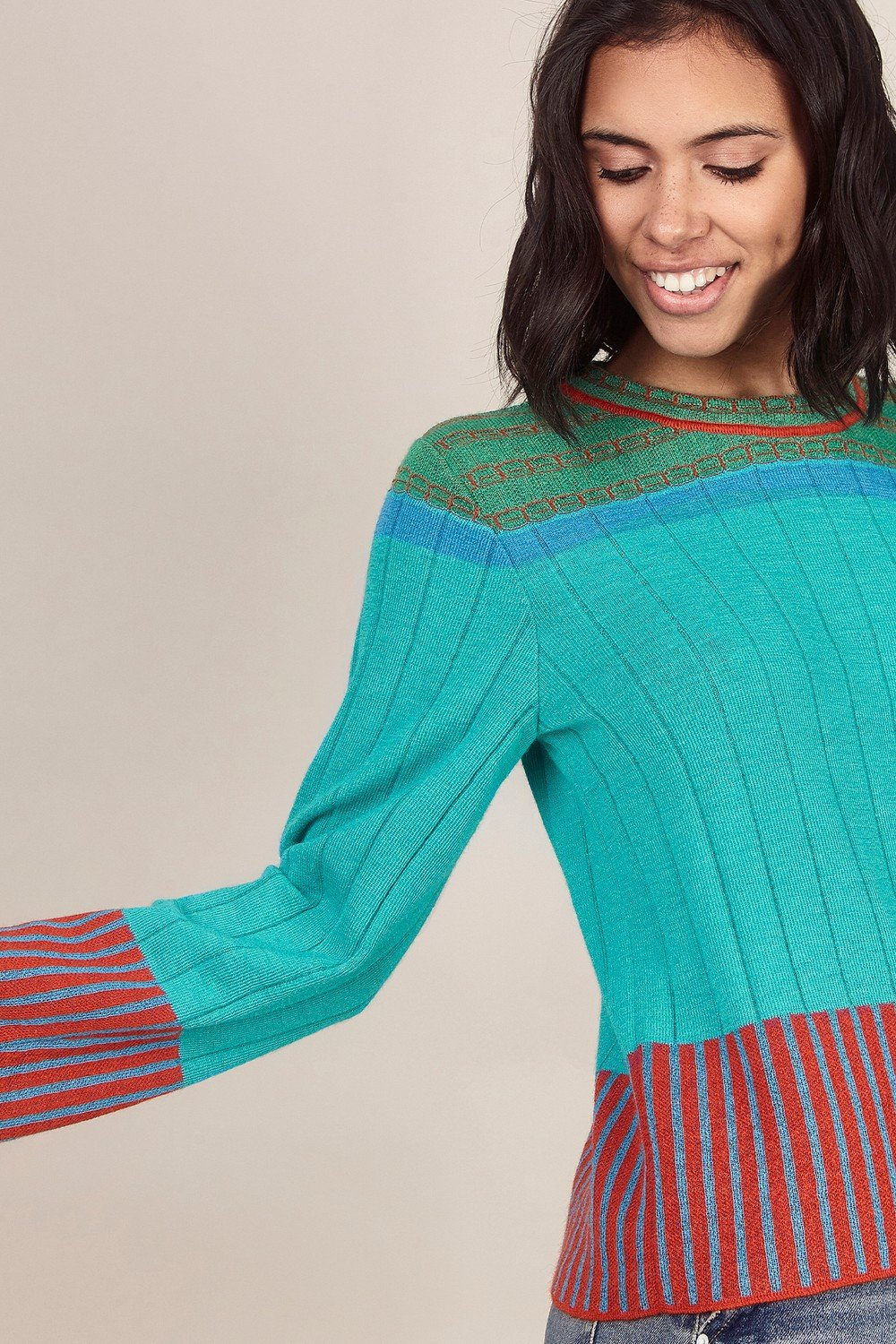 Ribbed Colour Block Sweater