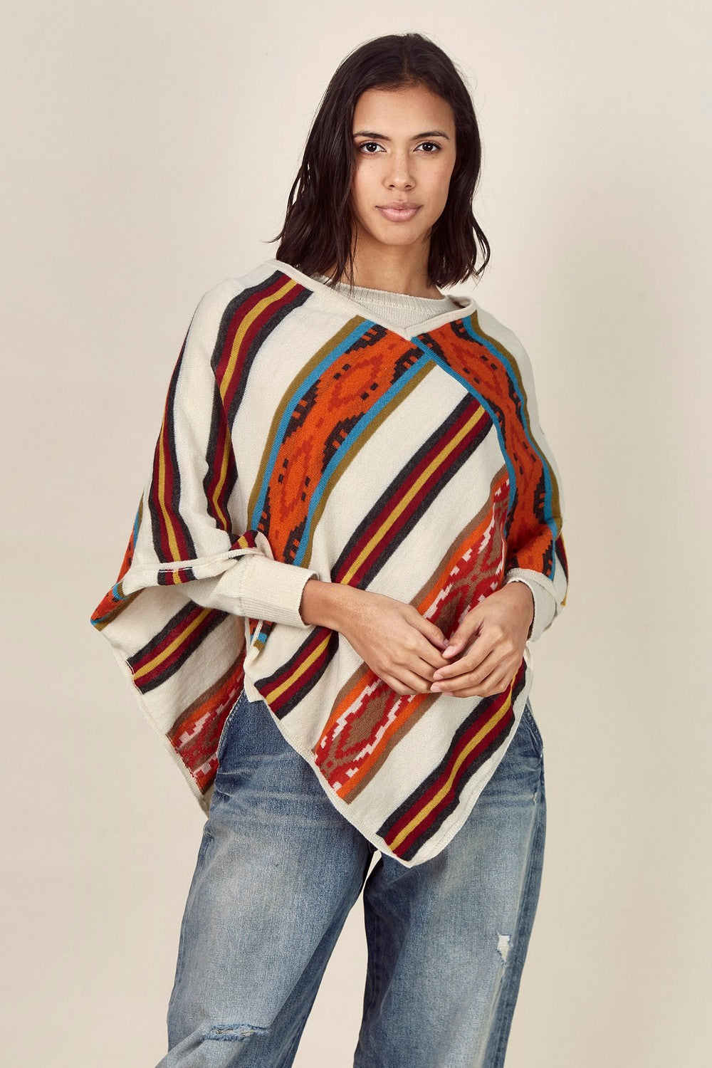 Pointed Hem Striped Poncho