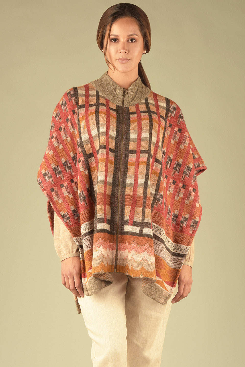 Printed Mock Neck Poncho
