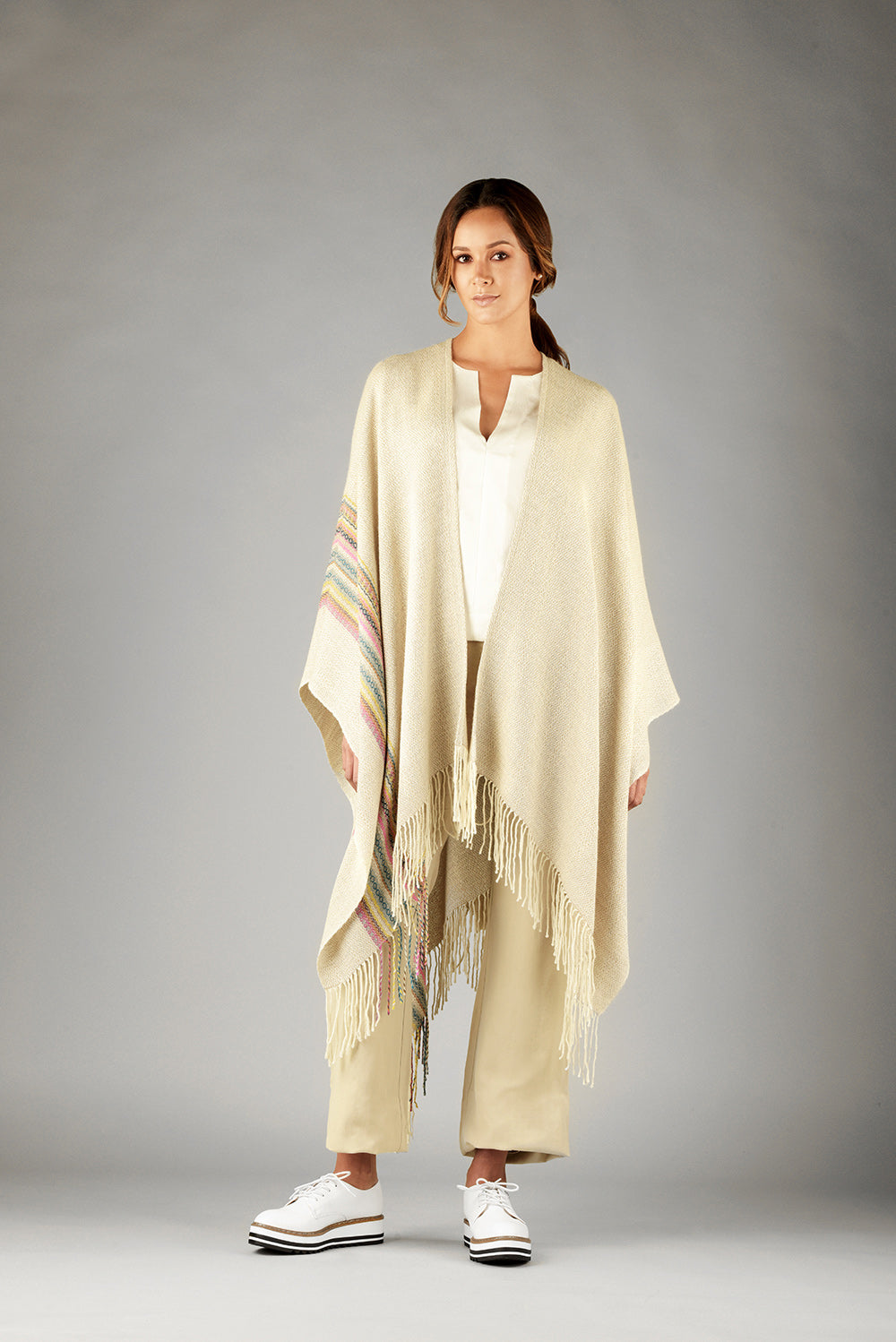 Fringed Stripe Print Cape