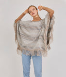 WANDERLUST STRIPED RIB REVERSIBLE PONCHO
