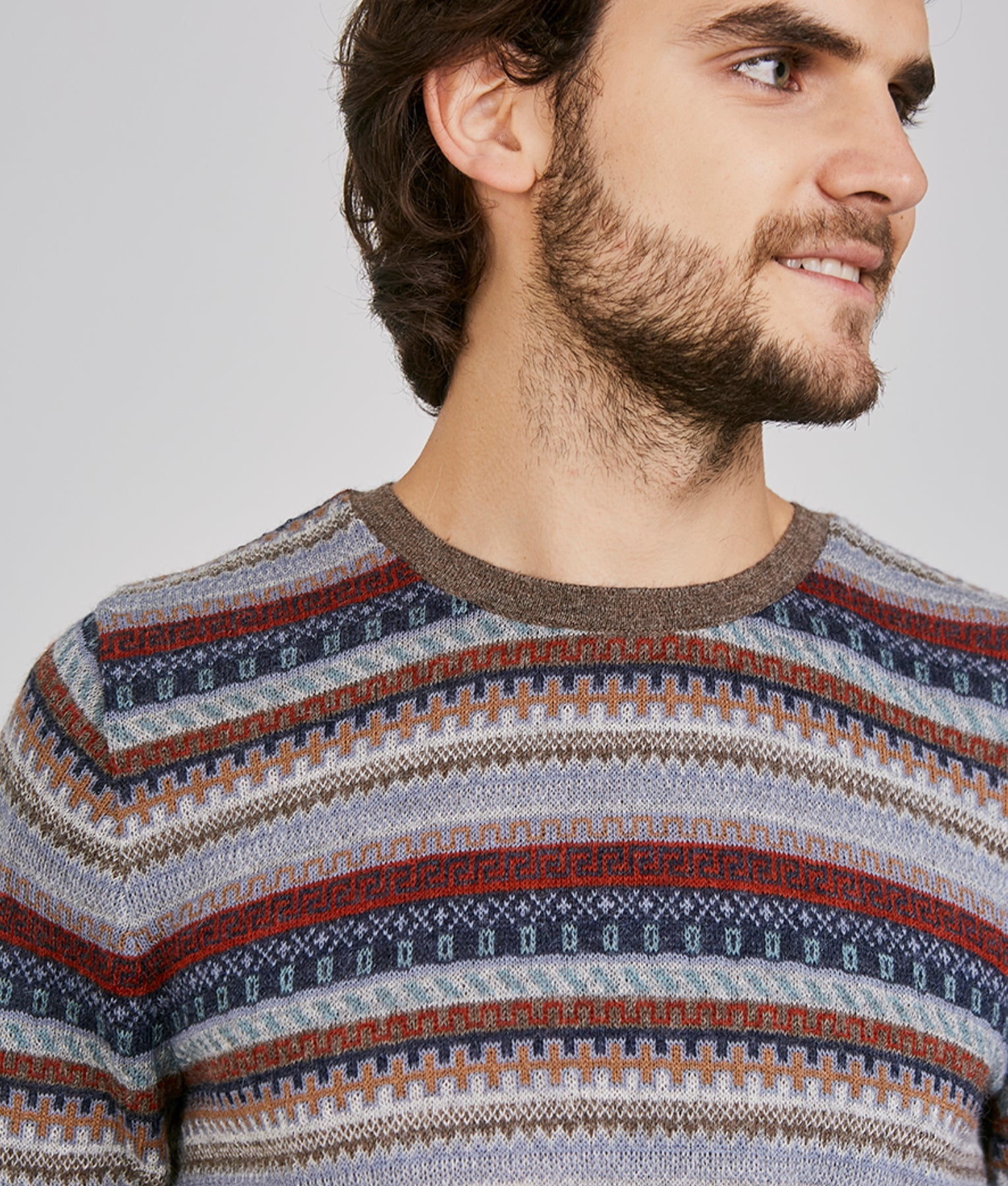 WANDERLUST ALL OVER JACQUARD O NECK PULLOVER