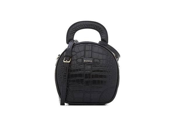 Croco Journal Round Crossbody Bag S