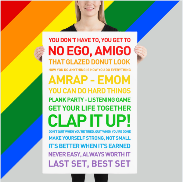 AMRAP EMOM RAINBOW - 24x36 Fitspiration Motivational Quotes Poster | Clean