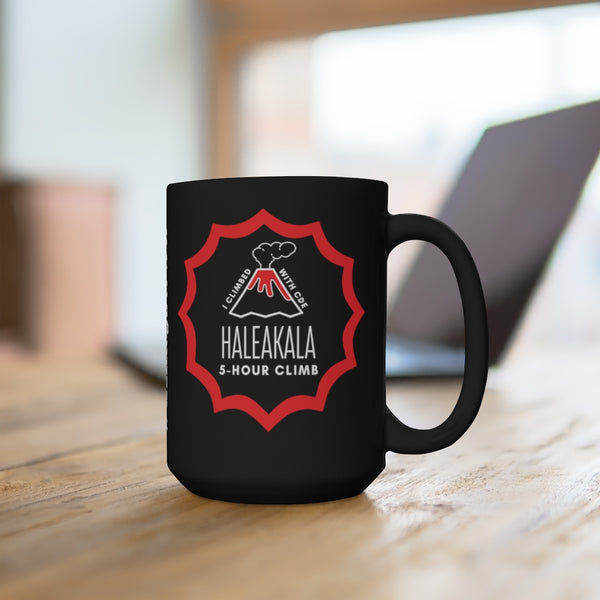HALEAKALA CLIMB Badge Black Mug (CDE) 15oz with Leaderboard Name