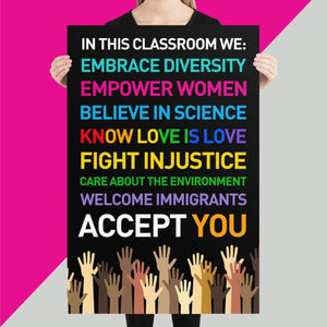 DIVERSITY POSTER for Teachers, Classroom, Office, Gym 24x36
