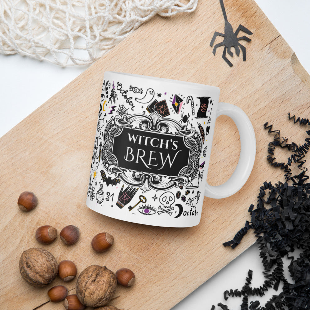 SPOOKY DOODLES Witch's Brew Halloween Mug