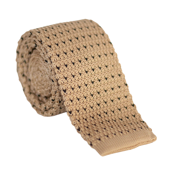 Thick Beige Knit Sock Tie With Square End. Light Brown Color with Black Stitching.