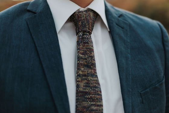 men's multi-colored knit tie