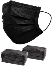 Load image into Gallery viewer, 50 PCS Black Disposable Face Mask Individually Wrapped