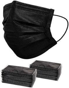 50 PCS Black Disposable Face Mask Individually Wrapped