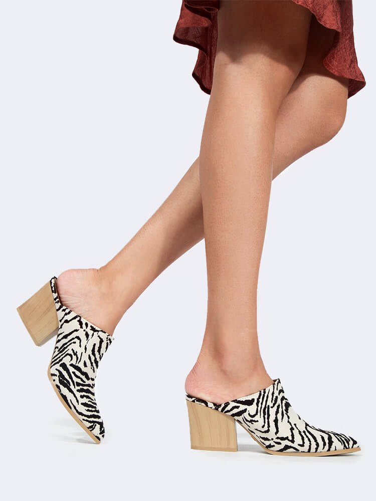 Block Heel Pointed Toe Mule