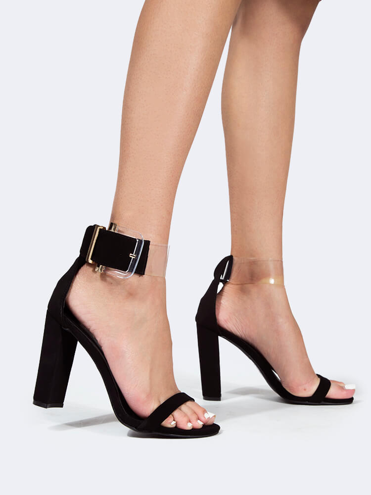 Clear Ankle Strap Block Heel