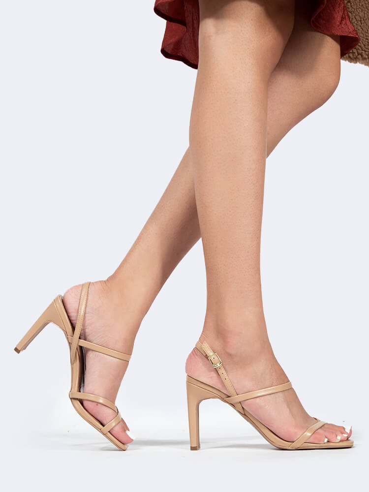 Square Toe Cross Strap Heels