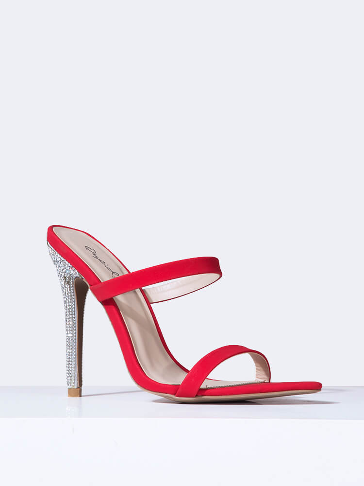 Pointed Toe Double Strap Heels