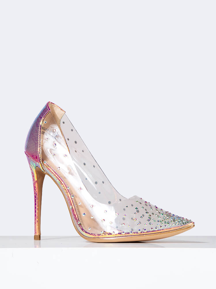Clear Jeweled Pointed Toe Pump