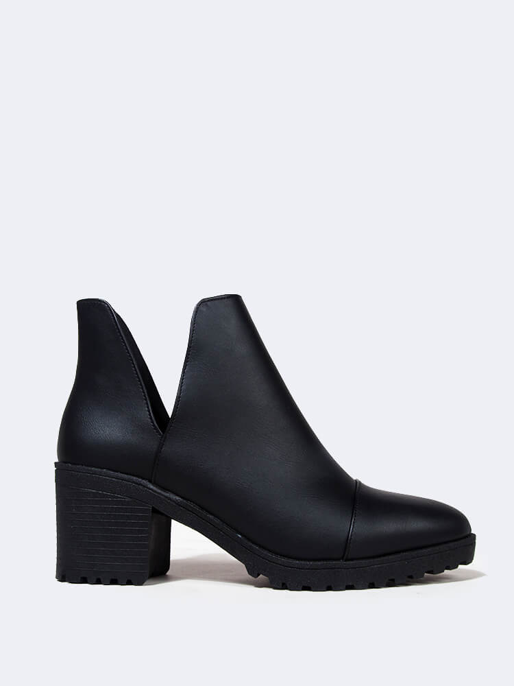 Side Cut Out Heeled Bootie