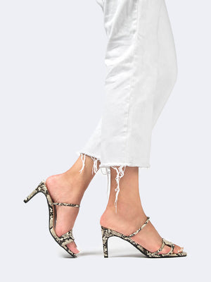 Snake Square Toe Double Strap Heel