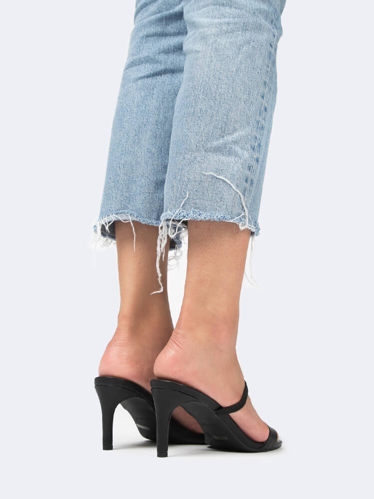Square Toe Double Strap Kitten Heels