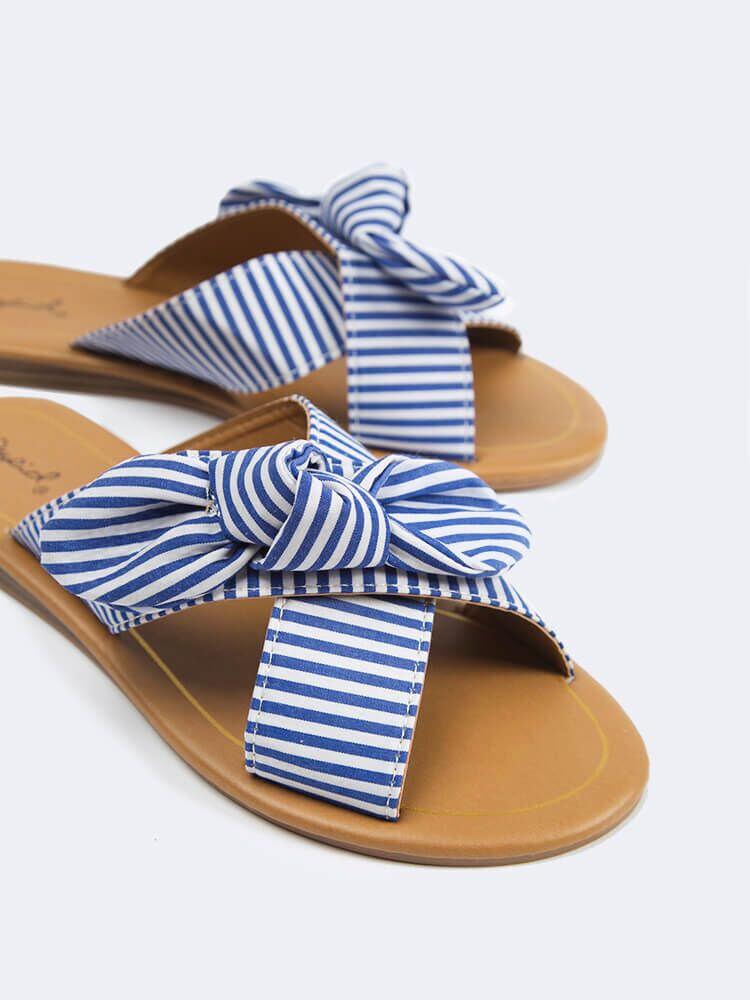 Striped Cross Band Sandals