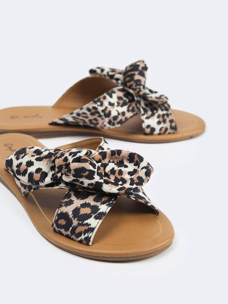 Leopard Cross Band Sandals