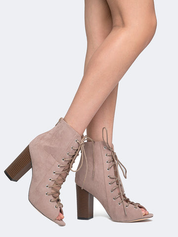 Corrine Wood Heel Lace Up Bootie