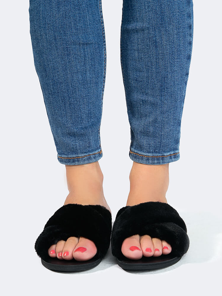 Furry Cross Band Sandals