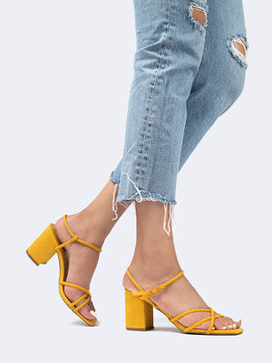 Square Toe Strappy Block Heels