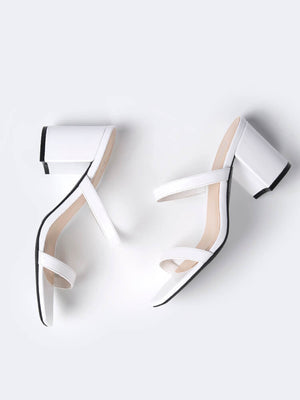 Square Toe Double Band Block Heels