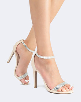 Jeweled Ankle Strap Heels