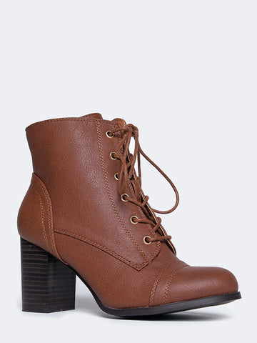 Lace Up Heeled Bootie