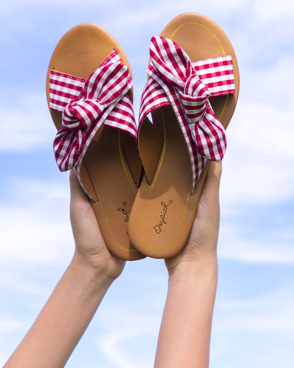 Gingham Cross Band Sandals