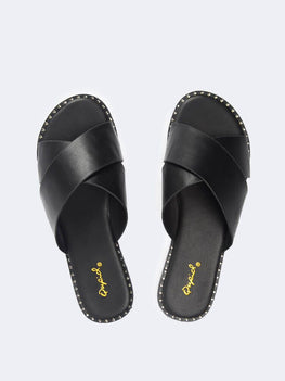 Cross Band Slide Sandals