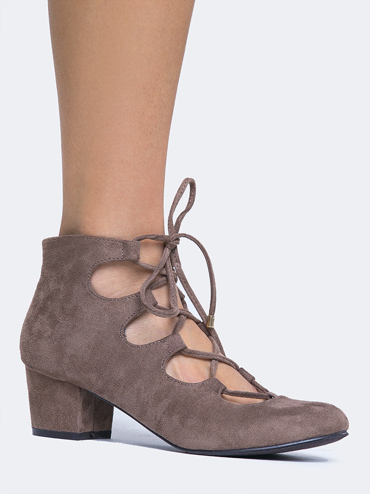 Lace Up Round Toe Bootie