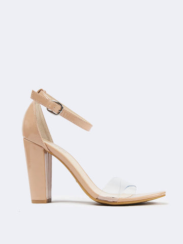 c22090d9ce55 Clear Band Ankle Strap Heel