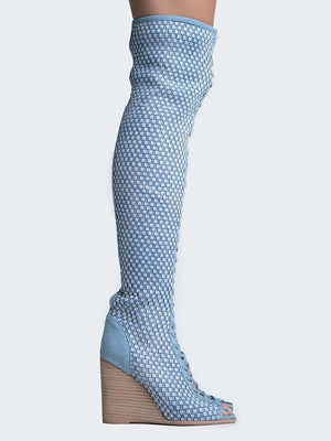 Jeffrey Campbell Maxon Blue Denim Boots