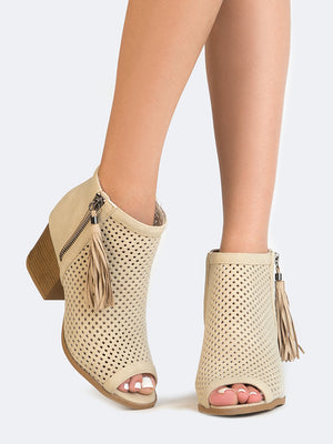 Open Toe Perforated Booties