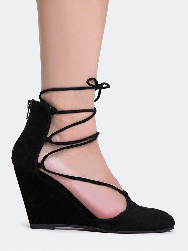 Jeffrey Campbell Ouverte Wedge Black Suede