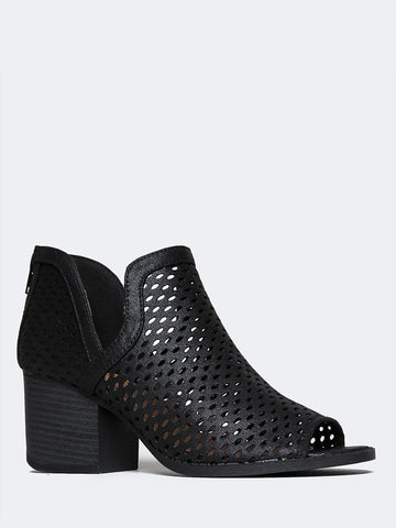 Perch Cut Out Perforated Bootie