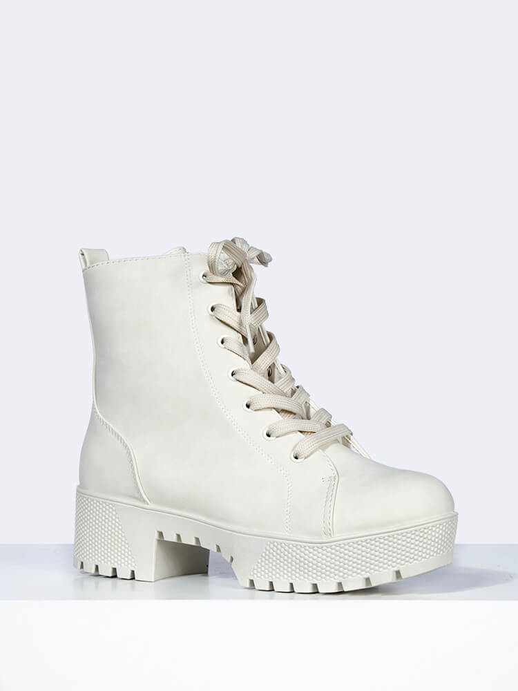 Off White Platform Combat Boot