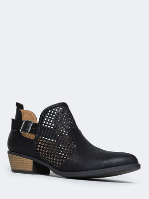 Milton Perforated Western Low Bootie