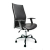 Shirt-Tail Leather Faced Executive Armchair with Chrome Base - Black