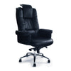 Luxurious High Back Leather Faced Gull-Wing Executive Armchair with Adjustable Headrest and Chrome Base - Black