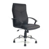 High Back Leather Faced Executive Armchair with Integral Headrest and Chrome Base - Black
