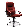 Westminster - High Back Leather Faced Executive Armchair with Integral Headrest and Chrome Base