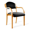 Beech Framed Stackable Side Armchair with Upholstered and Padded Seat and Backrest - Black